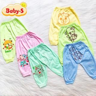 Quần dài cotton có in hình ở mông cho bé trai và bé gái 4-15kg chất vải đẹp mềm mịn bé mặc mát co giãn Baby-S - SQVN009 thumbnail
