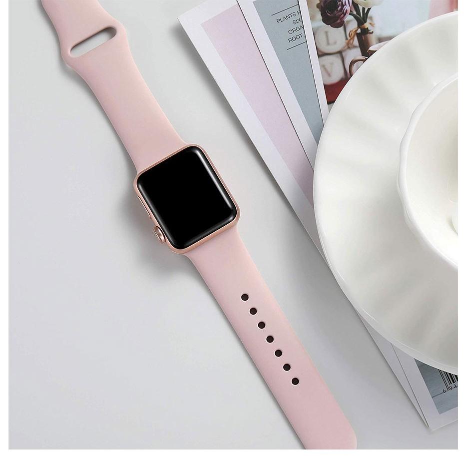 Dây Silicone Khóa Kim Loại Cho Đồng Hồ Apple 42mm 38mm 44mm 40mm Iwatch Series 5 / 4 / 3 / 2 / 1