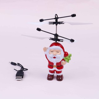 SUN55❤❤Christmas gift toy santa claus electric infrared sensor flying helicopter