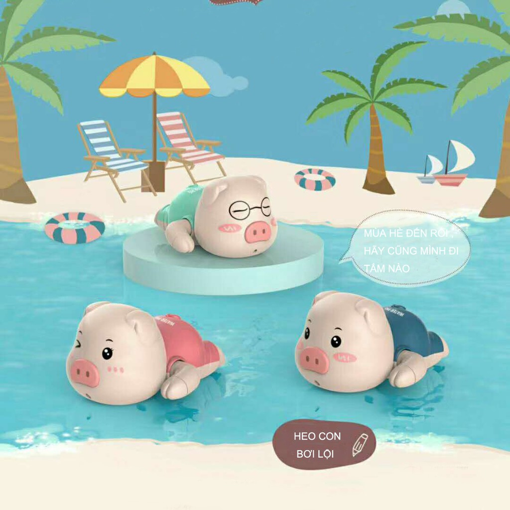 Đồ Chơi Bồn Tắm Vặn Cót Heo Con Bơi Lội Đáng Yêu Cho Bé