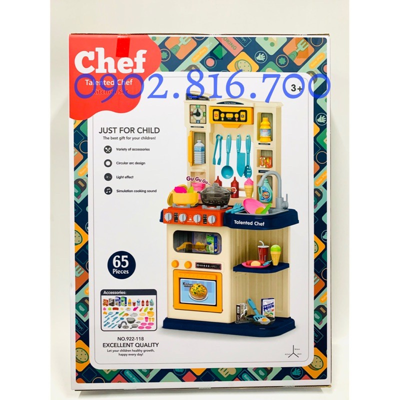 Đồ chơi kệ bếp mini - Đồ chơi nấu ăn cho bé trai và bé gái 65 chi tiết 922-118