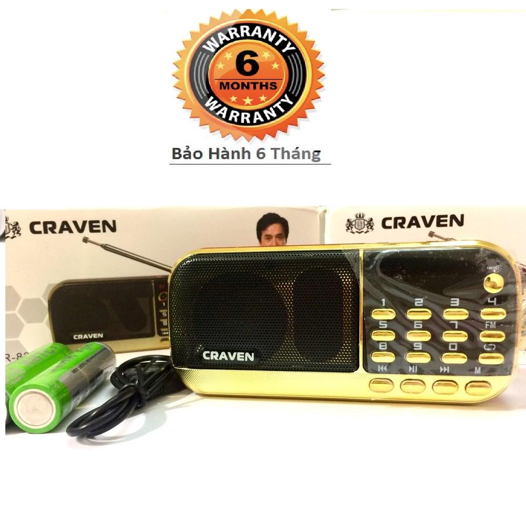 Máy nghe nhạc mini Craven CR 836S/853 3 pin nghe kinh-nghe đài FM dùng thẻ nhớ pin siêu trâu- Bh 6 tháng