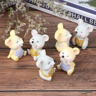 LEFT 3Pcs/set 3*4CM New Year Of Mouse Fortune Happiness Small Statue Ornaments VN