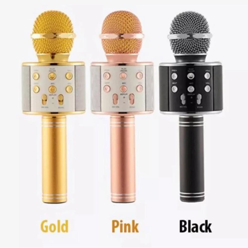 Mic kèm Loa Bluetooth WS-858 đa năng 6 trong 1 hát Karaoke