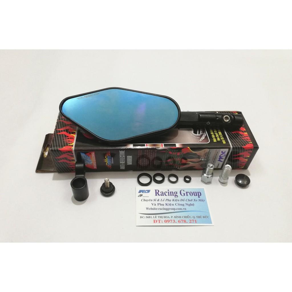 Gương Chiếu Hậu Xe máy F5 - Mặt Kính Xanh + Tặng kèm chế xoay 360 độ