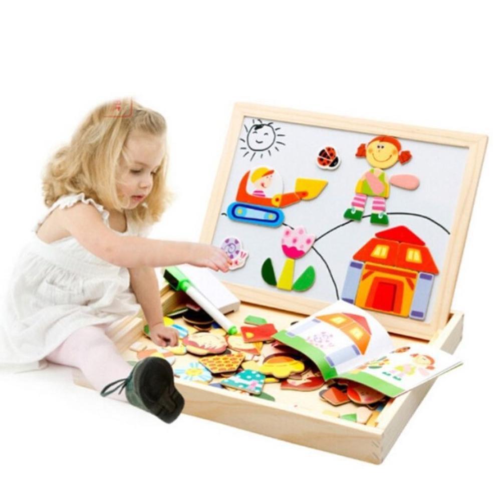 Đồ chơi trẻ em giúp phát triển trí thông minh - Bộ ghép hình nam châm cho bé  trai, bé gái bằng gỗ kèm bảng vẽ giá cạnh tranh