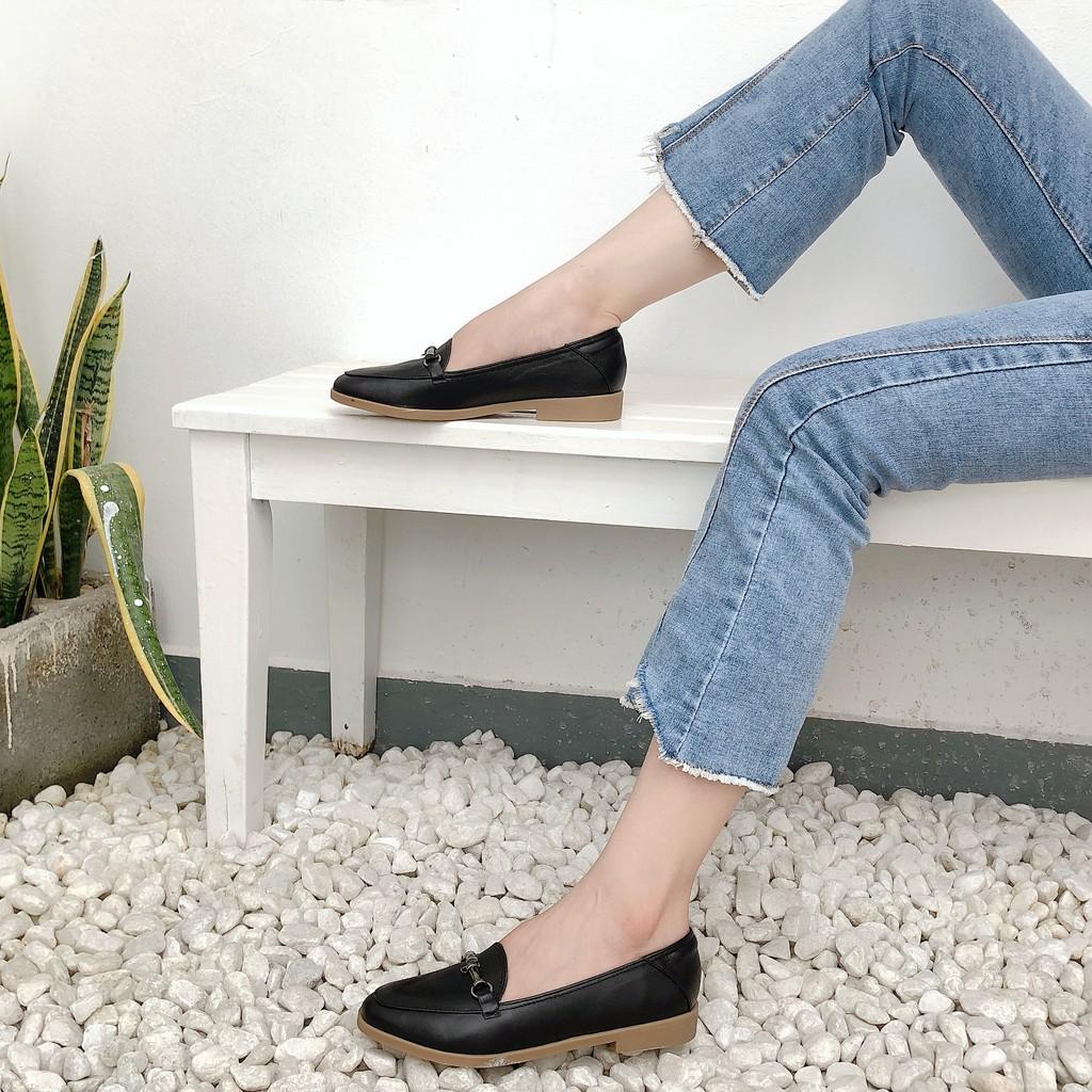 Giày mọi nữ loafer mũi nhọn phối kim loại Misho 1076