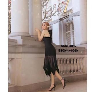 Váy cổ yếm phối chân voan