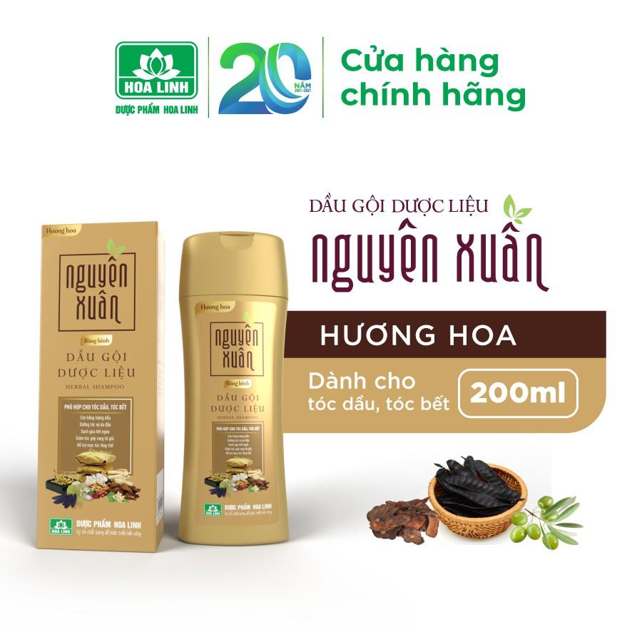 Dầu gội dược liệu Nguyên Xuân Bồng bềnh 200ml - Ngát hương hoa, phù hợp cho da đầu dầu.