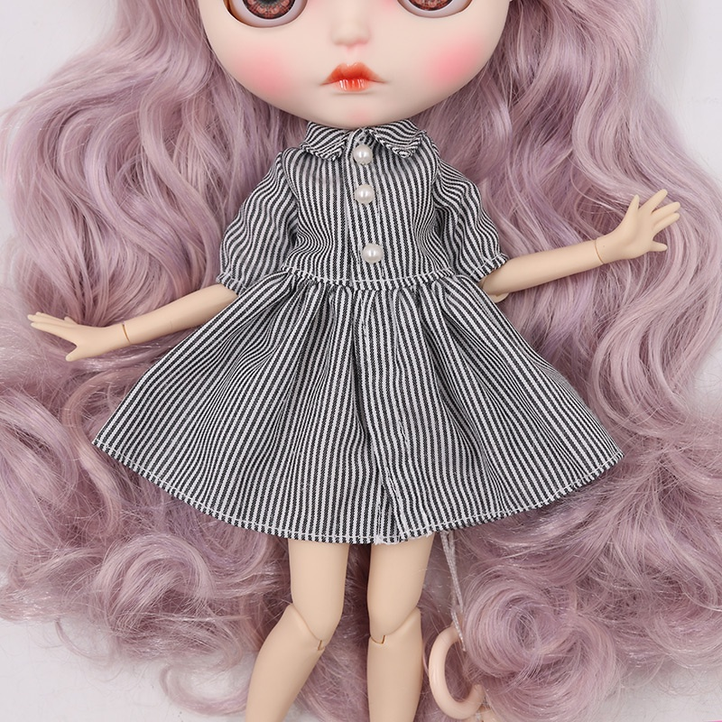 ICY DBS Small Ragdoll Clothes New Vertical Striped Dressazonetang guoliccaLicca Doll Clothes