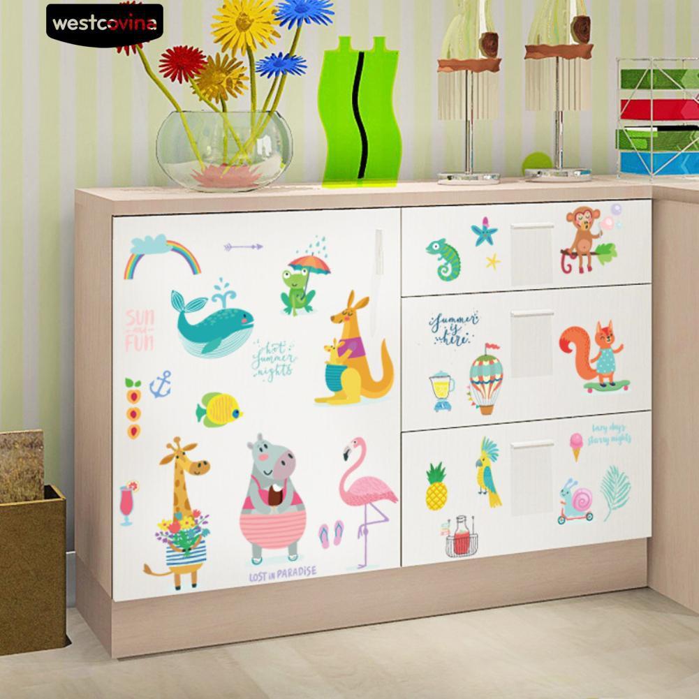 Nhãn dán tường họa tiết động vật dễ thương trang trí nội thất