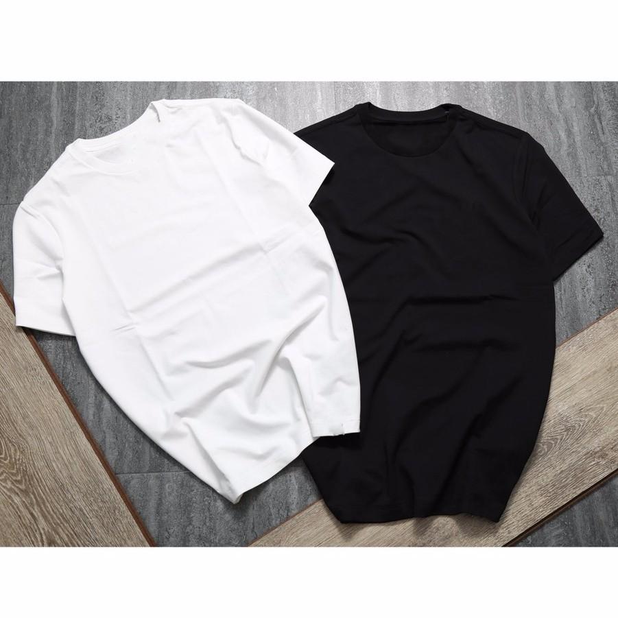 Combo 2 áo thun trơn trắng đen vải dày mịn