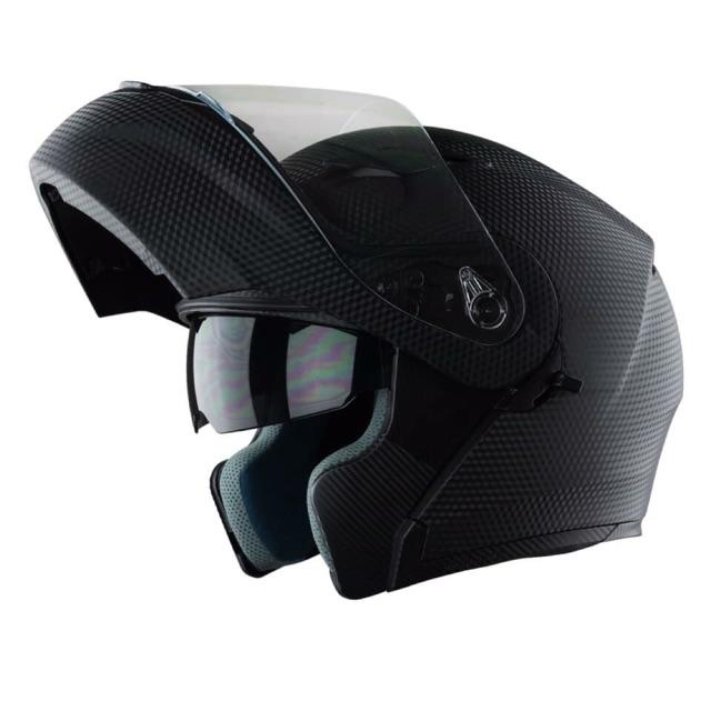 Mũ Bảo Hiểm Fullface Lật Cằm 2 Kính Royal M179 Vân Carbon - Bảo Hành Chính Hãng 1 Năm