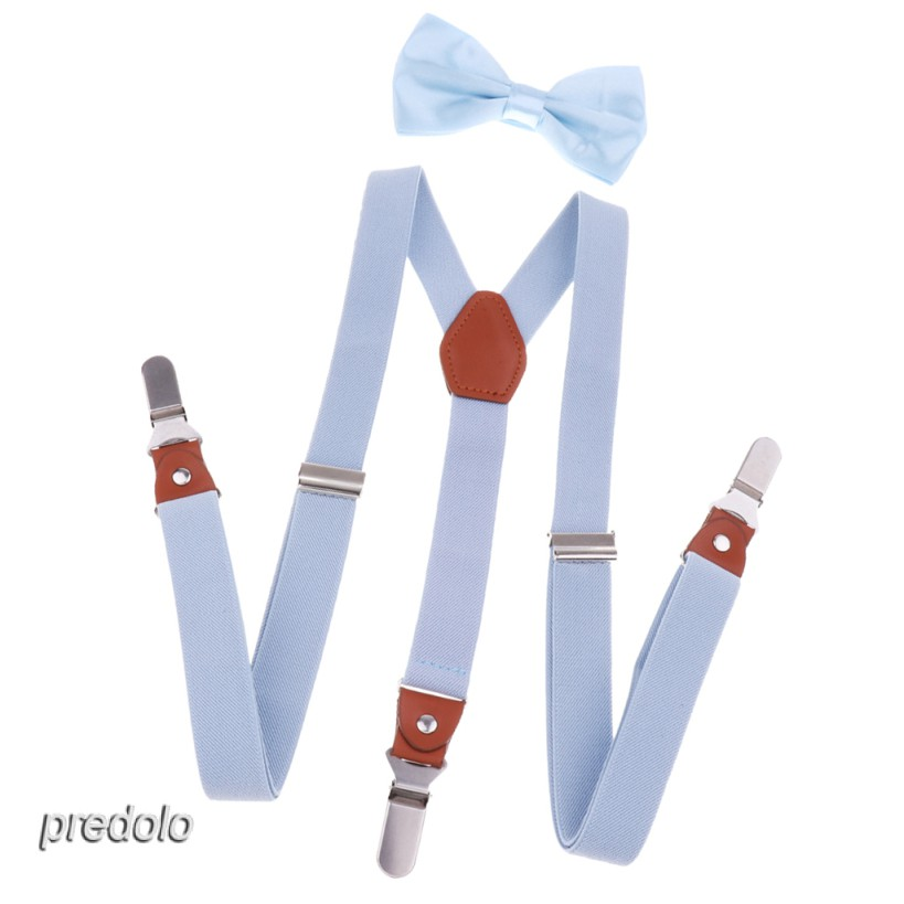 Adjustable Suspender Clip-on Braces and Bow Tie Set for Baby