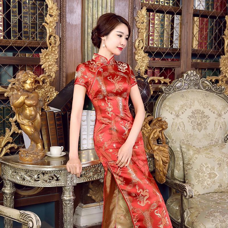 Long Sườn Xám Slim Vintage Phụ Nữ Phoenix Dress Tang Suit Plus Kích Thước Váy