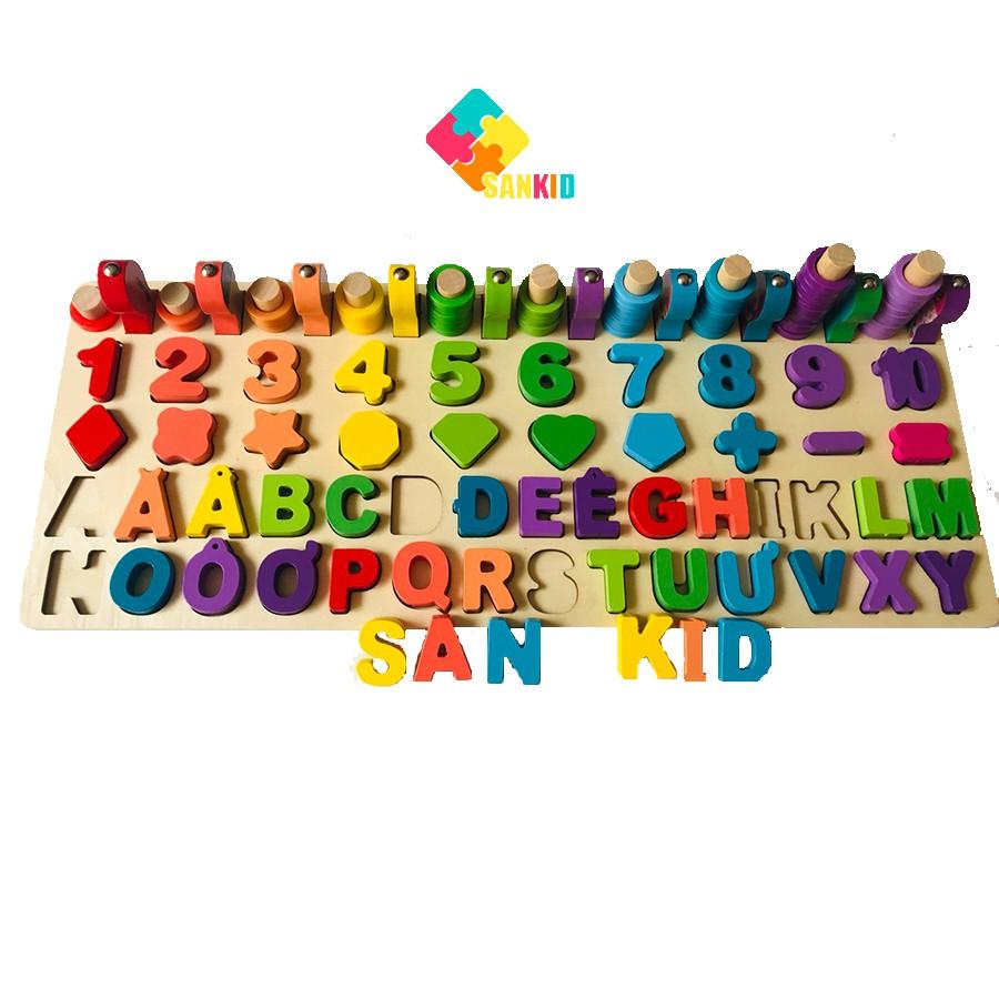 Đồ chơi gỗ bảng chữ số ghép hình trí tuệ giúp bé học đếm