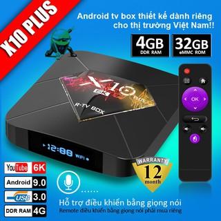 Tivi Box Androi RAM 4G, Bộ nhớ 32G, xem phim 6K, chơi game, hỗ trợ tính năng tìm kiếm bằng giọng nói. BH12 Tháng