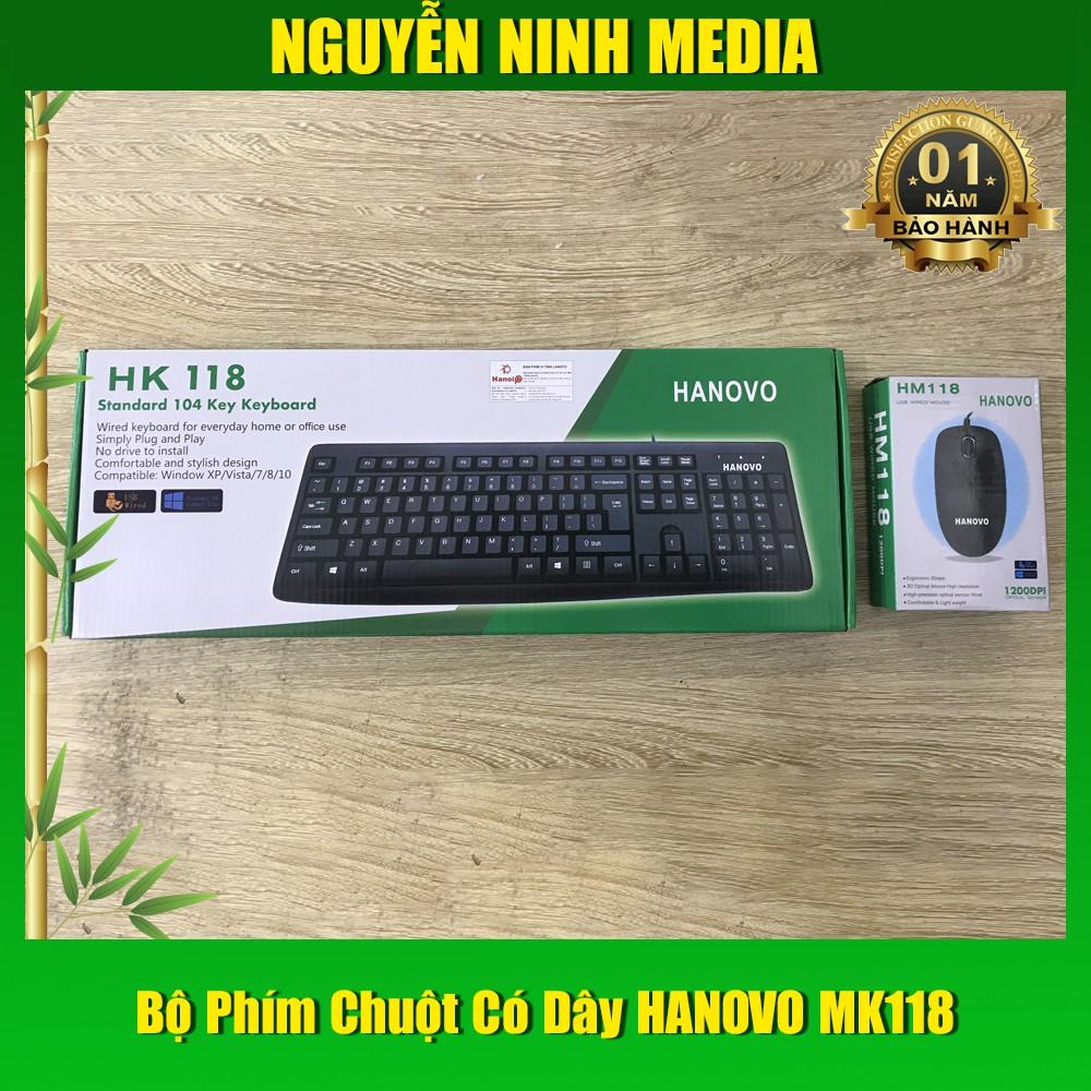 Bộ Bàn Phím Chuột Văn Phòng HANOVO 118 - Hàng Chính Hãng