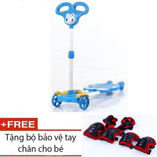 Xe Scooter 4 bánh cho bé (Xanh dương) + tặng bảo vệ tay chân
