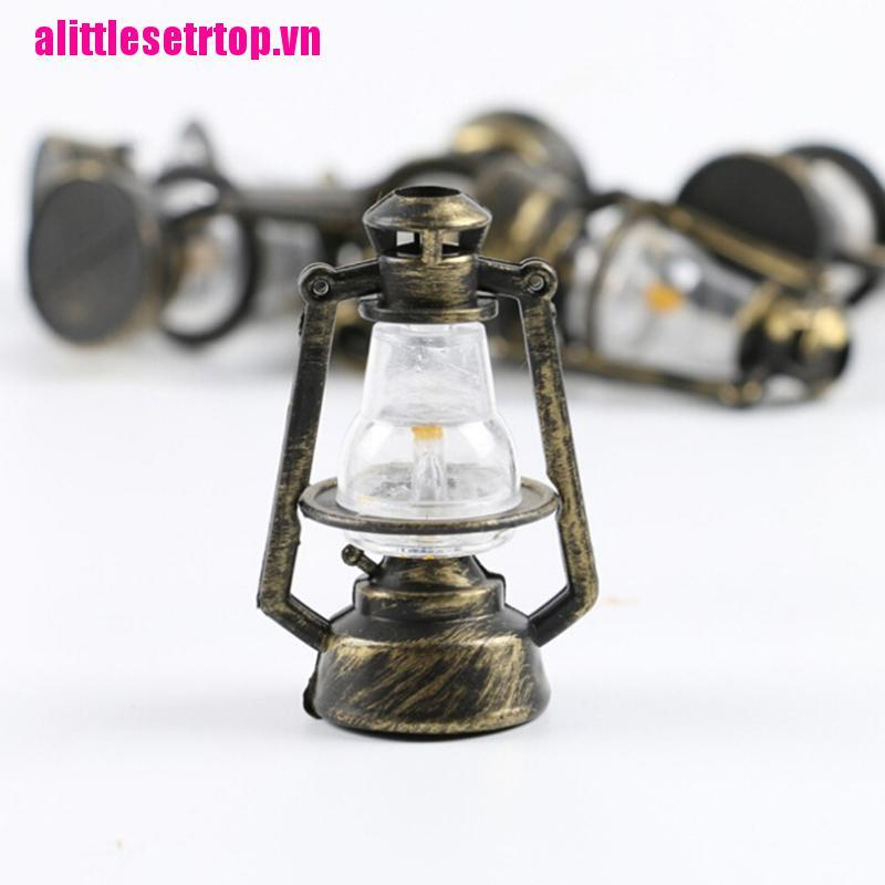 【well】1Pc 1:12 1:6 Dollhouse miniature retro oil lamp doll house accessories t