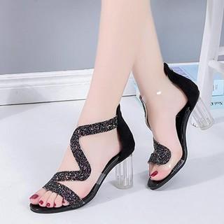 Giày cao gót nữ gót trong quai kim tuyến zik zak - Giày cao gót 8cm - Giày nữ da mềm gồm 2 màu - Linus LN130