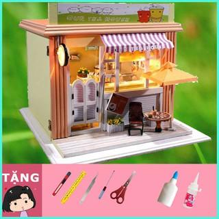 """Mô Hình Nhà Gỗ DIY """"Tiệm trà sữa"""""""
