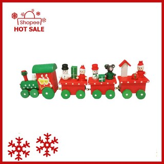 Four Small Wooden Christmas Trains Children'S Wooden Toys