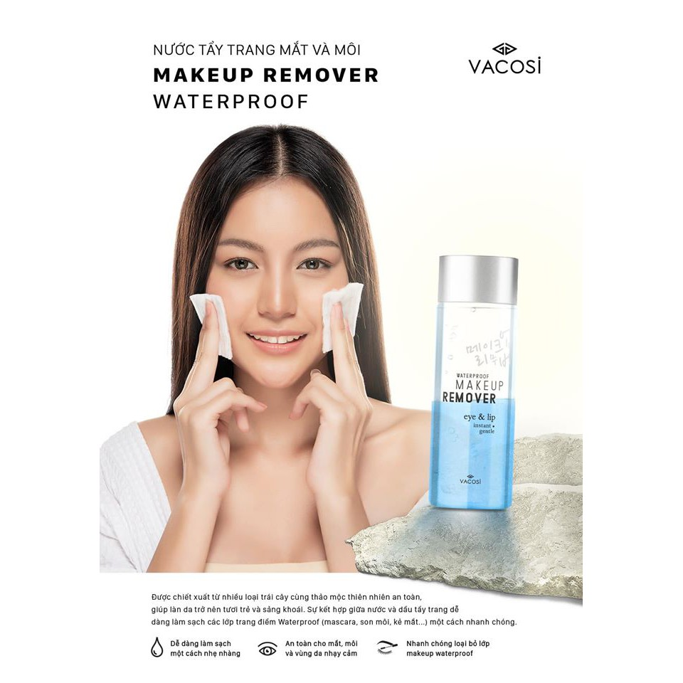 Image result for Nước tẩy trang mắt & môi Vacosi waterproof makeup remover for eye & lip