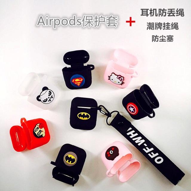 Ốp Airpods silicon nhiều hoạ tiết (Tặng kèm dây đeo)