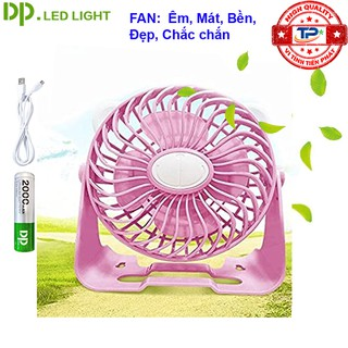 [Mã ELFLASH5 giảm 20K đơn 50K] Quạt sạc tích điện DP DP-7609 đế quạt để bàn hoặc treo lên được ( màu hồng )