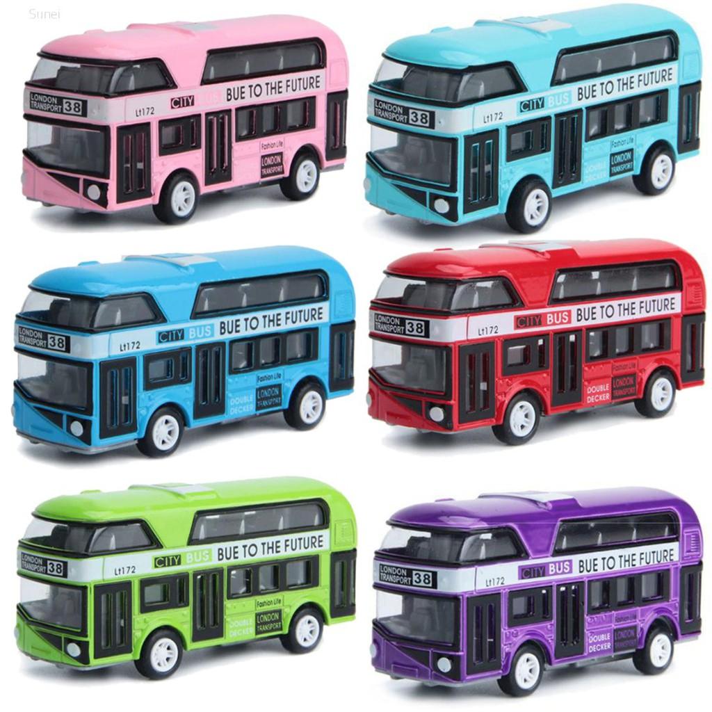 💗Sunei💗1:43 Car Model Double-decker Bus London Alloy Diecast Vehicle Toys For Kids