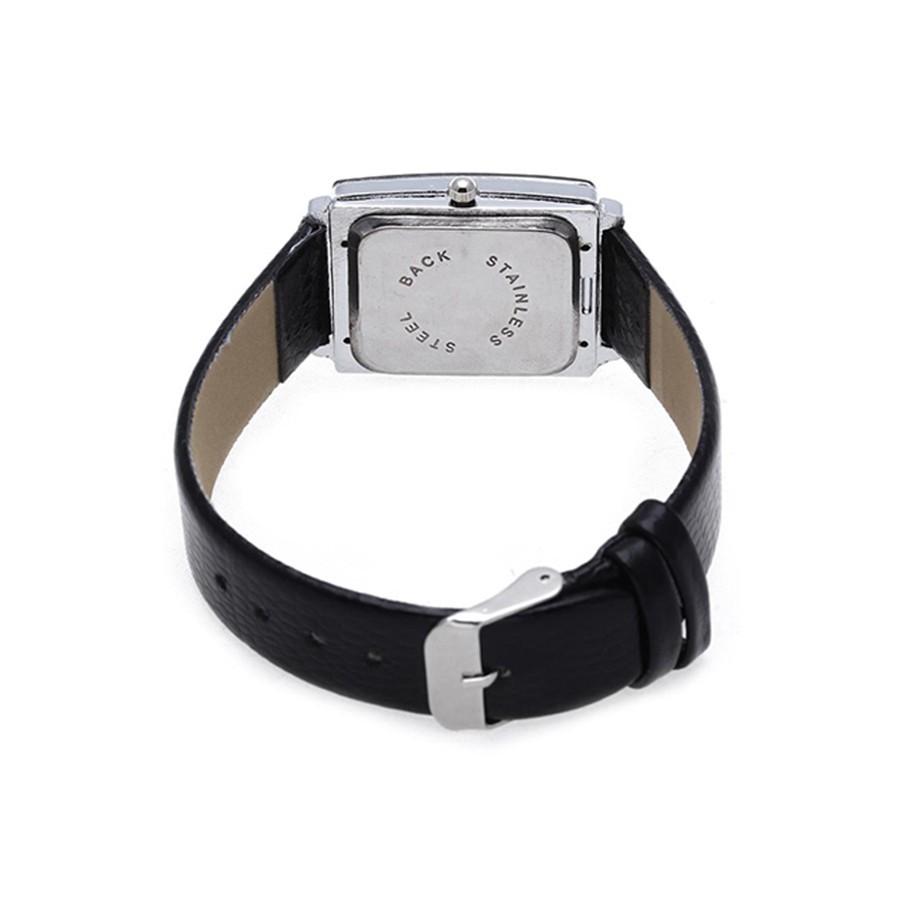 Đồng hồ mặt chữ nhật đính đá, dây đeo giả da cho nam/nữ