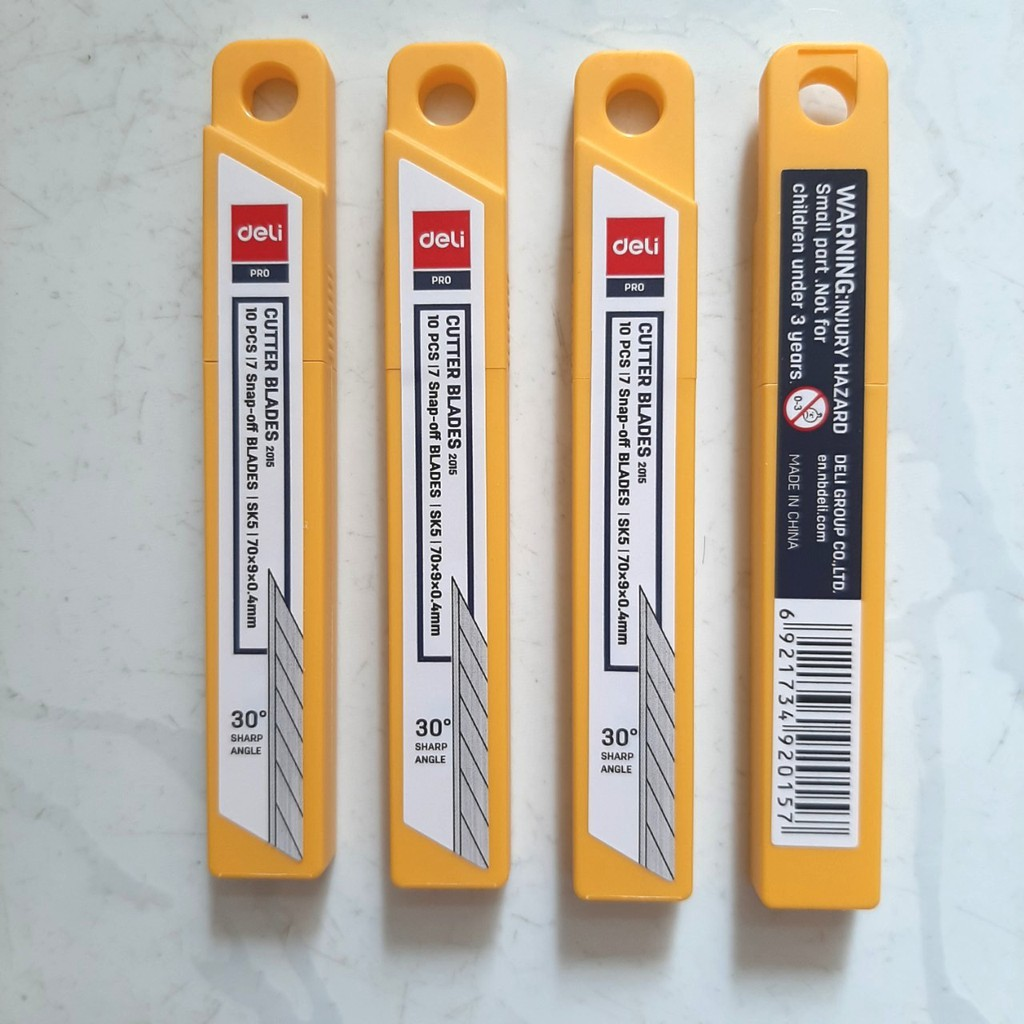 Hộp 10 cái lưỡi dao rọc giấy 30 độ Deli 2015