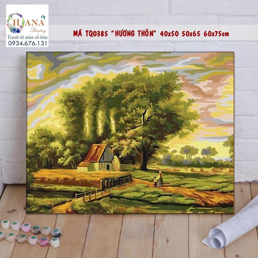 Tranh sơn dầu số hóa tự tô màu theo số DIY mã DV0825 - Trang làng quê Việt  Nam