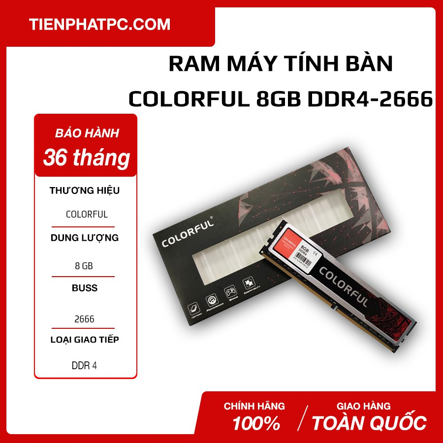 Ram DDR4 Colorful 8G/2666 Tản Nhiệt (DDR4 2666)