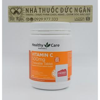 [Tem chemist] Vitamin C [Úc] HeathyCare Vitamin C 500mg – Siêu to 500 viên – tăng cường sức đề kháng