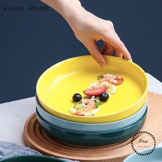 Đĩa sứ - đĩa sâu lòng trơn màu macaron - decor bàn ăn - kích thước 7in và 8in