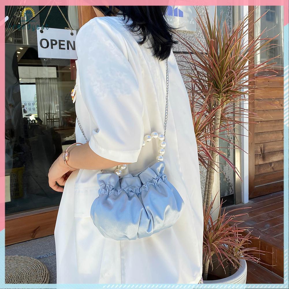 Túi xách đeo vai phối ngọc trai giả chất Satin thanh lịch cho nữ