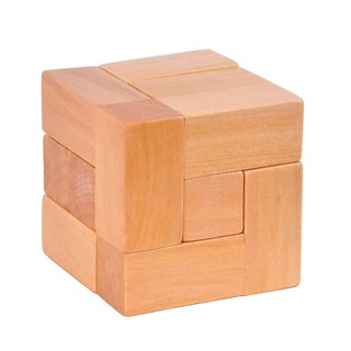 WX_Wooden 7 Block Cube Luban Lock Brain Teaser Adults Kids Puzzle Educational Toy