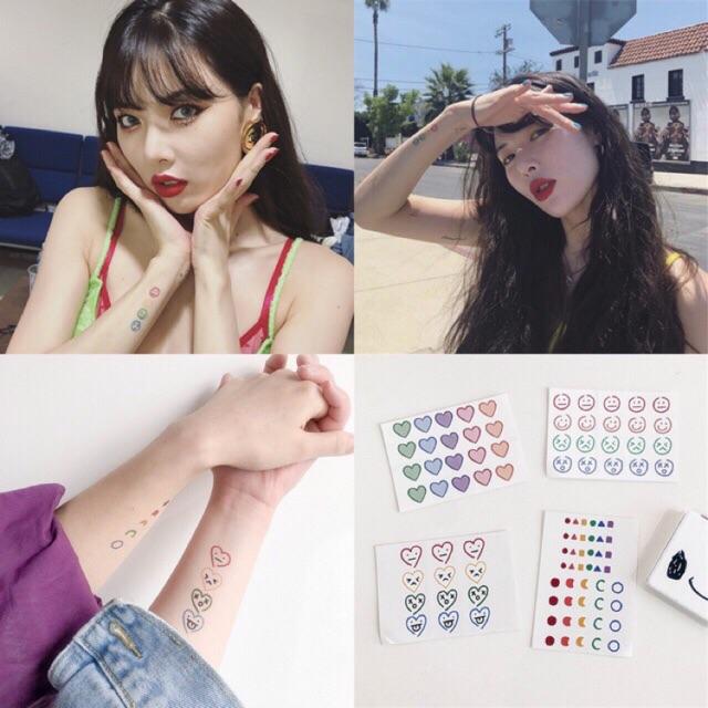 Miếng Dán Hình Xăm Emoji Phong Cách Hàn Quốc