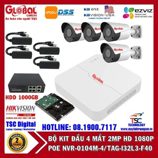 Camera Kit POE Đầu Ghi + 4 Mắt Thân NVR-0104L-4 TAG-I32L3-FP40 Kèm Ổ Cứng Lưu Trữ 1000GB thumbnail
