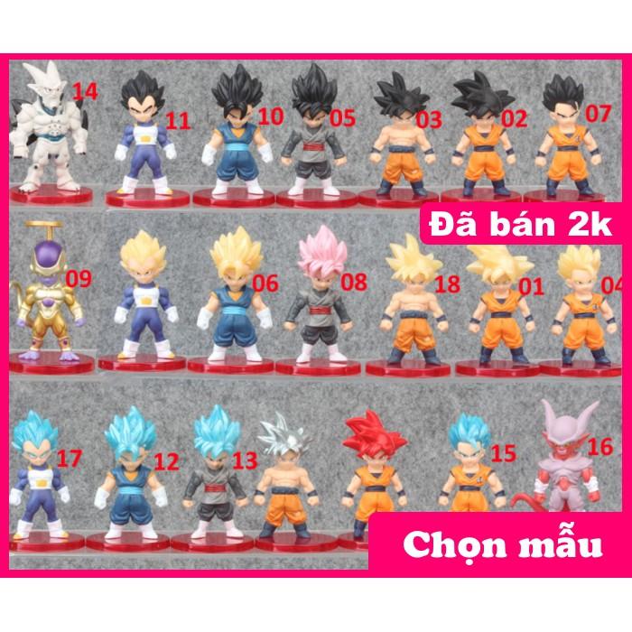 Lẻ Mô hình nhân vật 7 viên ngọc rồng Dragon Ball Son Goku chibi dễ thuong 6-7cm