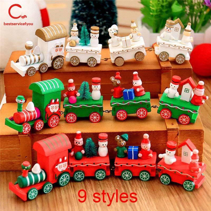 ❤BSFY❤ Mini Christmas Wooden Train Tree Wood Ornament Decoration Xmas Children Kid Toy Vehicles Gift