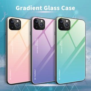 Ốp Lưng Kính Cường Lực Chống Sốc Màu Gradient Cho Iphone 12 11 Mini Pro Max