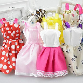 ♞10Pcs Kid Girls Toy Accessories Fashion Handmade Dresses Clothes for Doll Decor