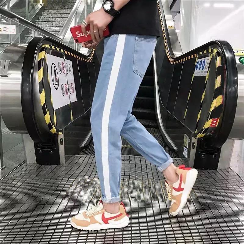 quần baggy jean sọc (tặng kèm khẩu trang su 3D)style cá tính