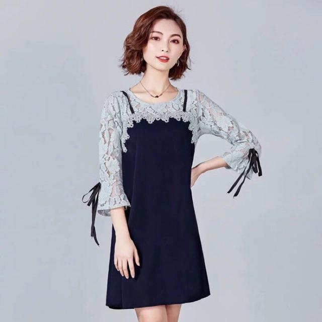 Đầm big size dự tiệc màu xanh đen cao cấp size 75-85kg