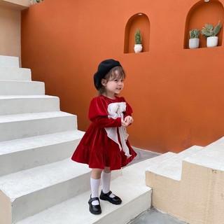 Váy nhung phối nơ trắng dáng xoè siêu xinhh cho bé gái - FREESHIP, Váy nhung cho bé gái