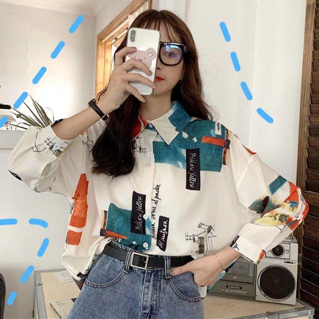 Áo sơ mi họa tiết oversize, áo sơ mi nữ, áo sơ mi tay dài, áo sơ mi, áo  kiểu   Shopee Việt Nam