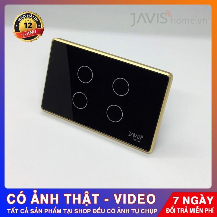 Công tắc cảm ứng thông minh JAVIS 4 Gang có viền vàng - Công tắc WIFI điều khiển bằng tiếng Việt